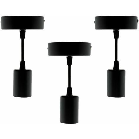 Lot de 3 kits de suspension luminaire métal avec cordons textiles Noir