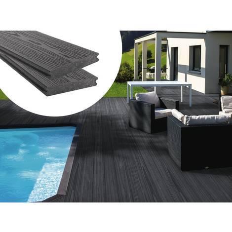 Lot De 3 Lames De Terrasse Composite Co Extrusion Long 2 4m Gris