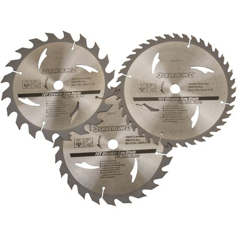 Lot de 3 lames TCT pour scie circulaire : 20, 24 et 40 dents Choix du modèle 190 x 16 mm - sans bague de réduction