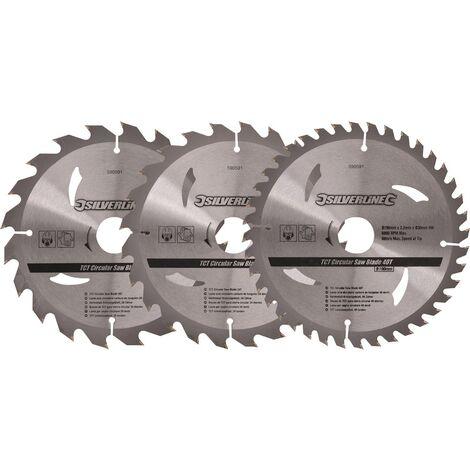 Lot de 3 lames TCT pour scie circulaire : 20, 24 et 40 dents Choix du modèle 190 x 30 mm - bague de réduction 25. 20 mm
