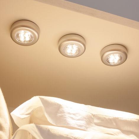 Lot de 3 Lampes Spots Autocollants à Piles avec LED Blanc Chaud pour Intérieur Lights4fun