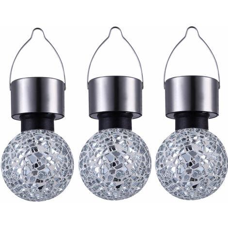 Lot de 3 LED éclairage extérieur solaire porche décoration boule lampes miroir mosaïque éclairage pendentif argent
