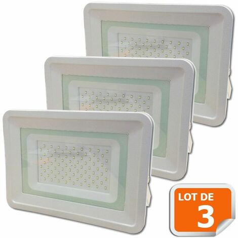 Lot de 3 LED Projecteur Lampe 100W Blanc 6000K IP65 Extra Plat