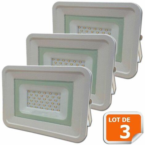 Lot de 3 LED Projecteur Lampe 30W Blanc 6000K IP65 Extra Plat