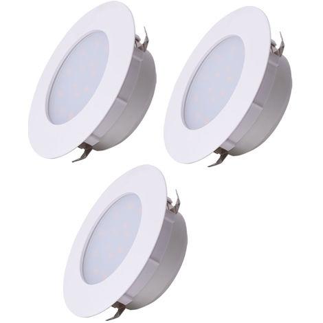Lot de 3 plafonniers LED encastré spot blanc éclairage de salon plafonnier rond