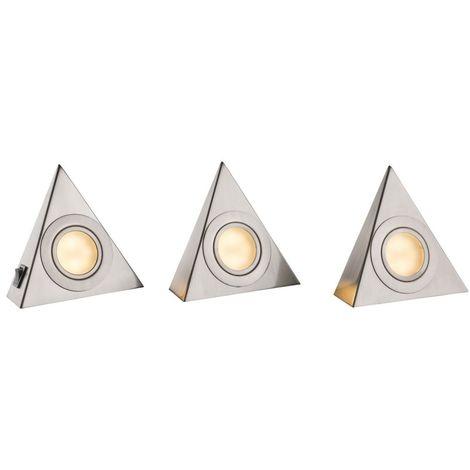 Lot de 3 luminaires LED sous placard, argent, L 14 cm, SAN FRANCISCO