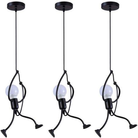 Lot de 3 Lustre Suspension Fer Gens Design Animé Petite Personne Créatif Luminaire pour Cuisine Salon Chambre Enfant Salle à manger Loft , E27 Blanc