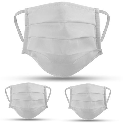 Lot de 3 masques en tissu BLANC lavables et réutilisables VITO SECURITY - Label OEKO TEX UNS2