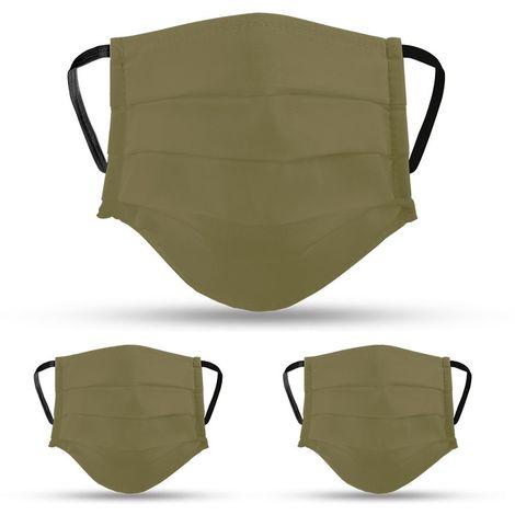 Lot de 3 masques en tissu KAKI lavables et réutilisables VITO SECURITY - Label OEKO TEX UNS2