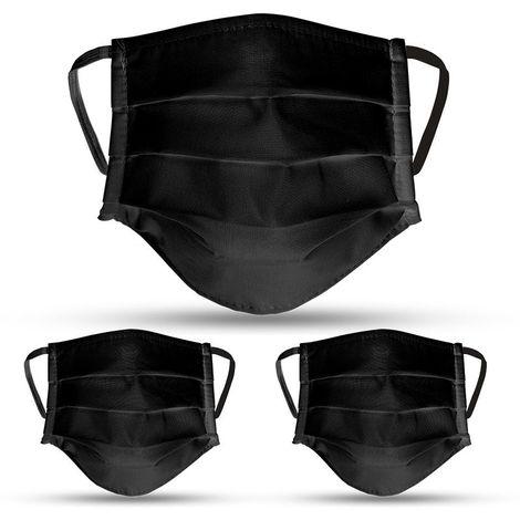 Lot de 3 masques en tissu NOIR lavables et réutilisables VITO SECURITY - Label OEKO TEX UNS2
