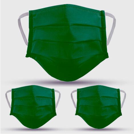 Lot de 3 masques en tissu VERT lavables et réutilisables VITO SECURITY - Label OEKO TEX UNS2