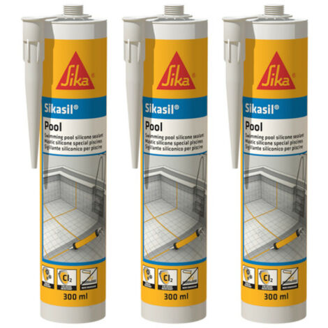 Lot de 3 mastic silicone SIKA Sikasil Pool - Joint pour piscine transparent - 300ml - Transparent