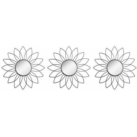 """main image of """"Lot de 3 Miroirs Déco Fleur 25cm Noir"""""""