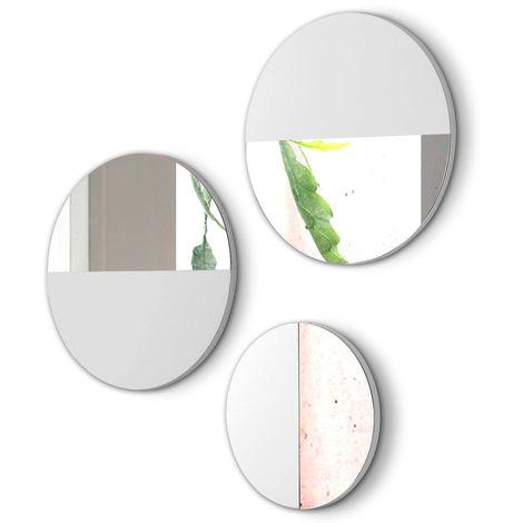 Lot de 3 miroirs ronds en bois et verre coloris Blanc -PEGANE-