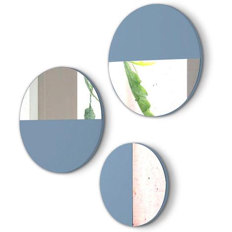 Lot de 3 miroirs ronds en bois et verre coloris Bleu -PEGANE-