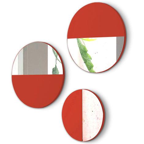 Lot de 3 miroirs ronds en bois et verre coloris Corail -PEGANE-