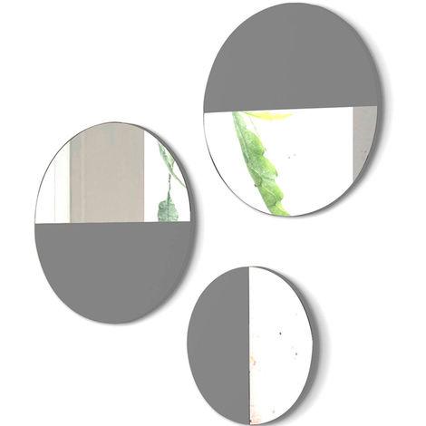 Lot de 3 miroirs ronds en bois et verre coloris Gris -PEGANE-