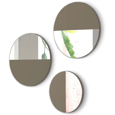 Lot de 3 miroirs ronds en bois et verre coloris Moka -PEGANE-