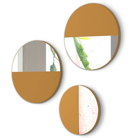Lot de 3 miroirs ronds en bois et verre coloris Moutarde -PEGANE-