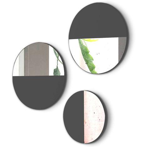 Lot de 3 miroirs ronds en bois et verre coloris noir de jais -PEGANE-