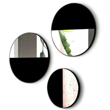 Lot de 3 miroirs ronds en bois et verre coloris Noir -PEGANE-