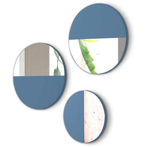Lot de 3 miroirs ronds en bois et verre coloris Océan -PEGANE-