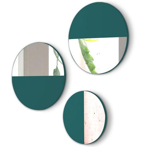Lot de 3 miroirs ronds en bois et verre coloris Turquoise -PEGANE-