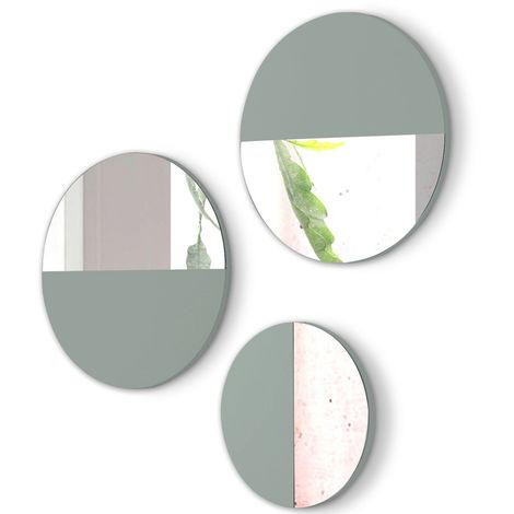 Lot de 3 miroirs ronds en bois et verre coloris Vert -PEGANE-