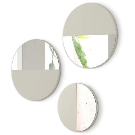 Lot de 3 miroirs ronds en bois et verre coloris Vison -PEGANE-