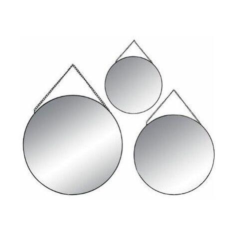Lot de 3 miroirs ronds - Noir - 36006