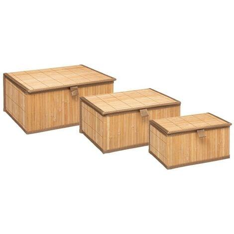 """main image of """"Lot de 3 paniers avec couvercles en bambou - Beige"""""""