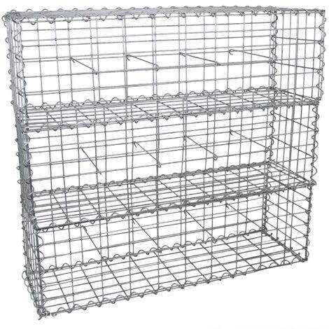 Lot de 3 Paniers de Gabions Argentés en Acier Galvanisé pour Projets d'Aménagement Extérieur, Murs de Soutènement, Clôture de Jardin. 100 x 30 x 30cm - Argent