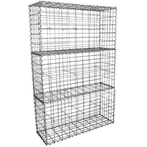 Lot de 3 Paniers de Gabions Argentés en Acier Galvanisé pour Projets d'Aménagement Extérieur, Murs de Soutènement, Clôture de Jardin. 100 x 50 x 30cm - Argent