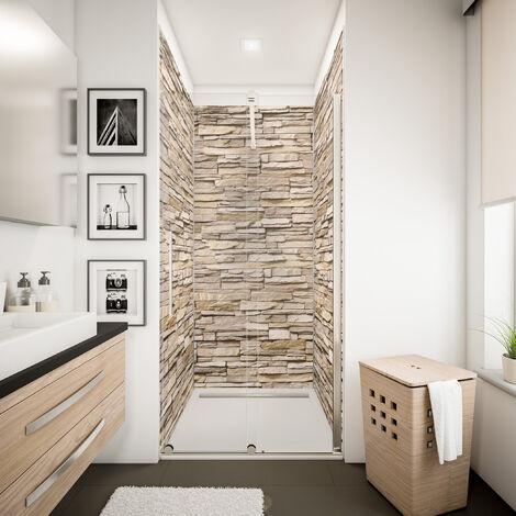 Lot de 3 panneaux muraux 100 x 210 cm + 5 profilés, revêtement pour douche et salle de bains, DécoDesign DÉCOR, Schulte, Parement ardoise