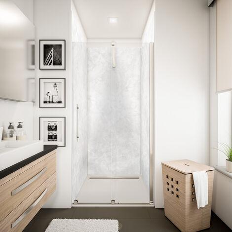 Lot de 3 panneaux muraux 100 x 210 cm + 5 profilés, revêtement pour douche et salle de bains, DécoDesign DÉCOR, Schulte, Parement clair