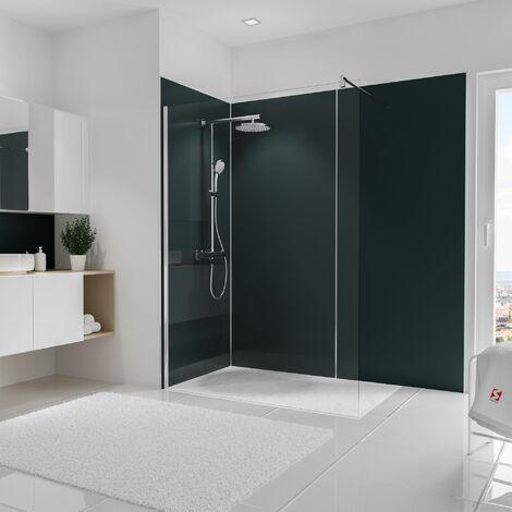 Lot de 3 panneaux muraux 90 x 210 cm + 5 profilés, revêtement pour douche et salle de bains, DécoDesign COULEUR, Schulte, Anthracite