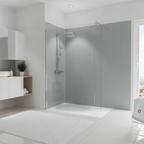 Lot de 3 panneaux muraux 90 x 210 cm + 5 profilés, revêtement pour douche et salle de bains, DécoDesign COULEUR, Schulte, Gris clair