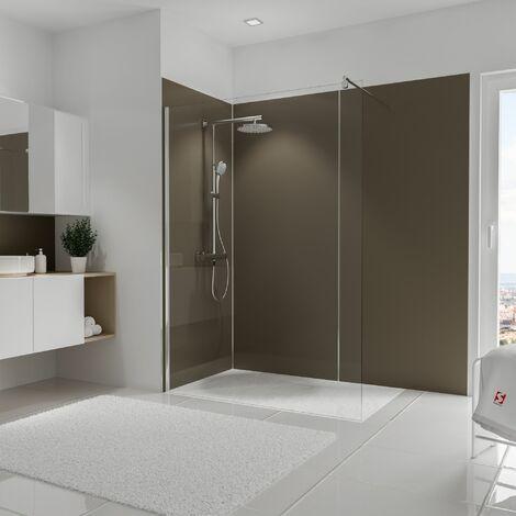 Lot de 3 panneaux muraux 90 x 210 cm + 5 profilés, revêtement pour douche et salle de bains, DécoDesign COULEUR, Schulte, Taupe