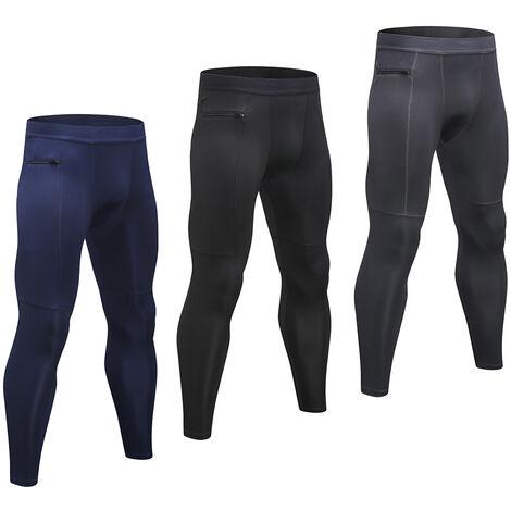 Lot De 3 Pantalons De Sport Homme, Haute Elasticite, Respirant Et A Sechage Rapide, Poche Zippee, Bleu Fonce + Gris + Noir, Taille L