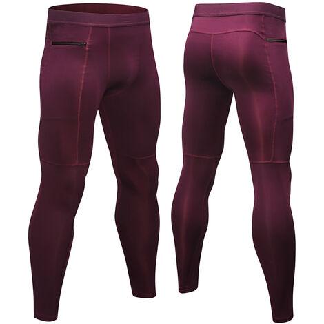 Lot De 3 Pantalons De Sport Homme, Haute Elasticite, Respirant Et A Sechage Rapide, Poche Zippee, Gris + Bleu Fonce + Vin Rouge, Taille M