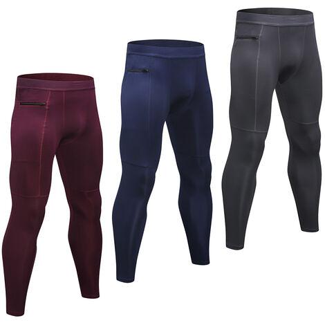 Lot De 3 Pantalons De Sport Homme, Haute Elasticite, Respirant Et A Sechage Rapide, Poche Zippee, Gris + Bleu Fonce + Vin Rouge, Taille S