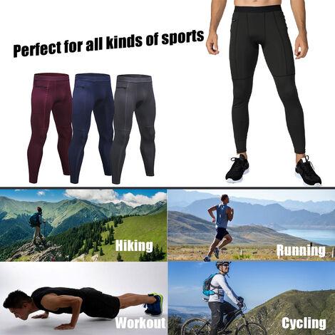 Lot De 3 Pantalons De Sport Homme, Respirants Et A Sechage Rapide, Poche Zippee, Gris + Bleu Fonce + Vin Rouge, Taille L