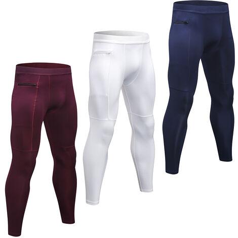 Lot De 3 Pantalons De Sport Pour Hommes, Haute Elasticite, Poche Zippee Respirante Et A Sechage Rapide, Blanc + Bleu Fonce + Rouge Vin, Taille M