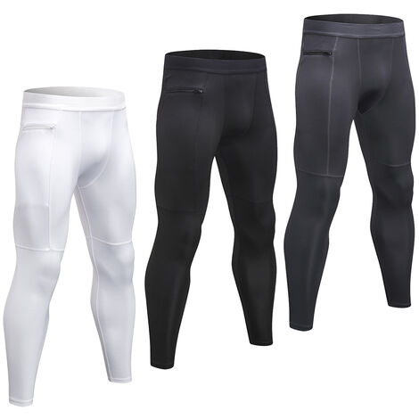 Lot De 3 Pantalons De Sport Pour Hommes, Respirants Et A Sechage Rapide, Poche Zippee, Blanc + Gris + Noir, Taille 2Xl