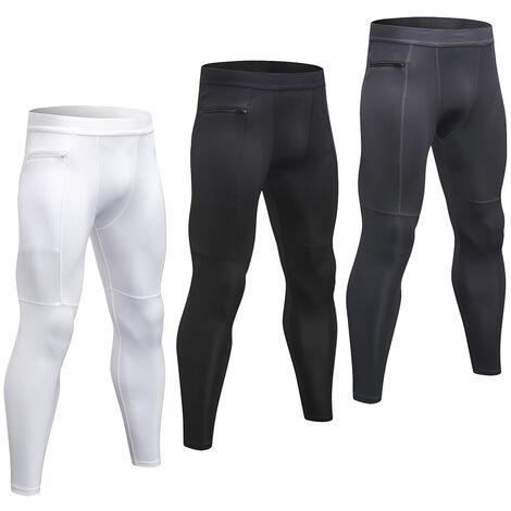 Lot De 3 Pantalons De Sport Pour Hommes, Respirants Et A Sechage Rapide, Poche Zippee, Blanc + Gris + Noir, Taille L