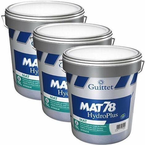 Lot de 3 Peintures GUITTET Mat 78 Hydroplus BLANC 15L   15 Litres