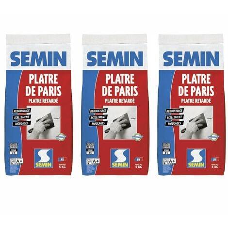 Lot de 3 plâtre de Paris pour moulages, scellements et rebouchage Semin - intérieur - sac de 5 kg