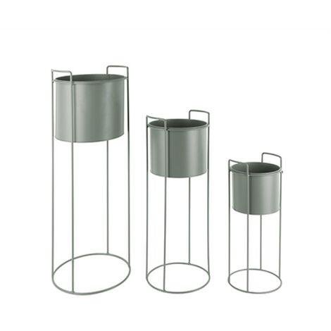 Lot de 3 pots de fleurs rond par Present Time - Vert kaki / Vert olive - Extérieur - Vert kaki / Vert olive
