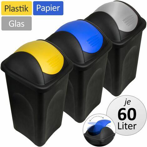 Lot de 3 Poubelles de recyclage Couvercle à bascule 60L Verre papier plastique