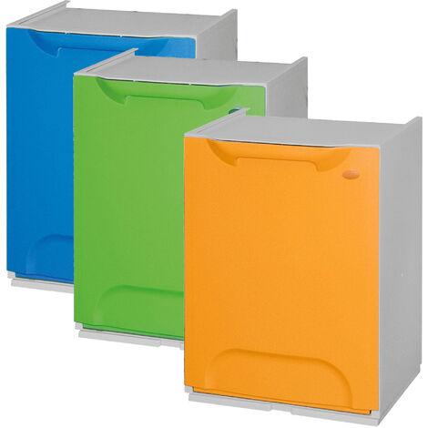 Lot de 3 poubelles de recyclage en polypropylène bleu, vert et jaune, avec réservoir intérieur, 60 L au total.